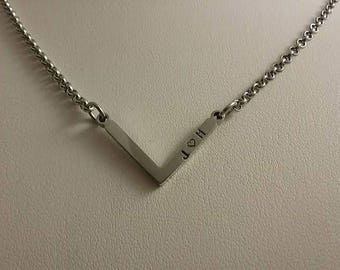 Chevron Stainless Steel Hand Stamped Necklace