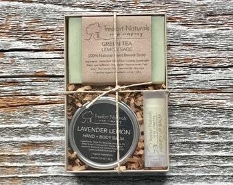 Soap Gift Set - Natural Soap, Honey Lip Balm, Hand + Body Balm, hostess gift, Teacher Gift