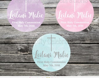 First Holy Communion Stickers, Baptism favor tags, Confirmation Favor tags, Religious, Set of 12 Personalized Favor Tags, Stickers, Baptism