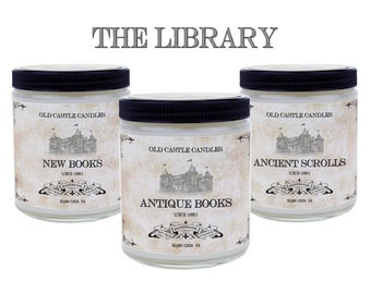 Book Candle, The Library Set, Literary Gift Book Scented Candles, Personalized Gift
