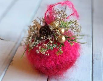 unique Christmas Ornament, Crochet Mohair Ornament, gift under 5, stocking stuffer