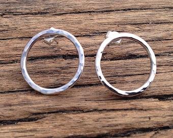 Handmade Sterling Silver Hammered Circle Earrings