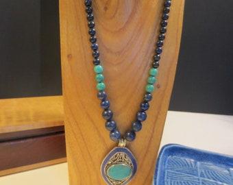 Lapis lazuli necklace with Tibetan pendant