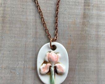 Pink Iris Pendant Necklace-Porcelain Jewelry-Kim OHara Designs-Ceramic Jewelry