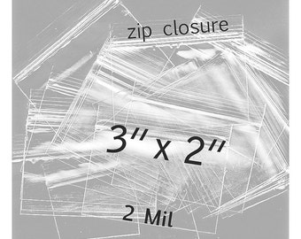 100 - 3 x 2 inch Clear Zip Closure Bags - 2 mil  Polypropylene bags - small item zip lock packaging