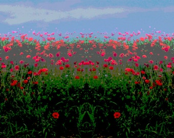 Poppies field Pop art print - 60 x 22 rolled canvas giclee