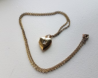 Gold Tone Heart Locket Necklace