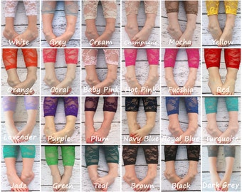 Girls Lace Legging Newborn Black White Red aqua,Lavender Turquoise Hot Pink Cream Yellow Orange Coral Plum Teal Fuschia Pink Purple Grey etc
