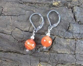 Earrings Fire Agate Small