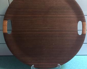 Vintage 1970s Danish Modern Large Round Teak Serving Tray