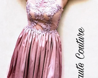 Pink dress with wedding or evening transparencies with American neckline