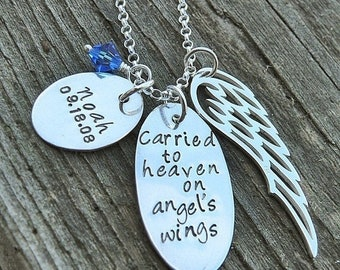 LIMITED TIME SALE Carried to Heaven on Angel's Wings, Custom Sterling Silver Loss Necklace, Memorial Necklace, Wing Crystal Birthstone, Pers