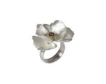 Sterling silver poppy ring - big flower