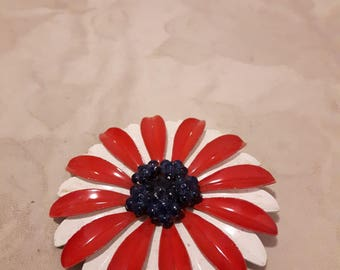 Vintage Large Enamel Flower Brooch - Red and White with Navy Blue Beaded Center - Boho - 1960s - Wedding/Birthday/Anniversary
