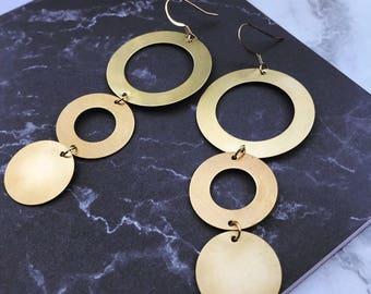Geometric Disco Circular Drop Earrings |  Gold & Brass