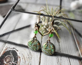 Planet Earth Earrings- Gemstone Space Astronomy Earrings- Earth Day Jewelry - Antique Brass Patina  Green Stone Travel Science Jewelry