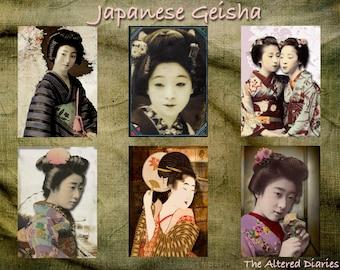 Geisha japonesa Collage hoja, Geisha ATC Collage hojas, hoja de Digital Collage imprimible