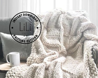 Knitting Pattern | LiLiKnits Chunky Knit Basketweave Blanket Throw Afghan Pattern | THE PIAZZA | Instant Download