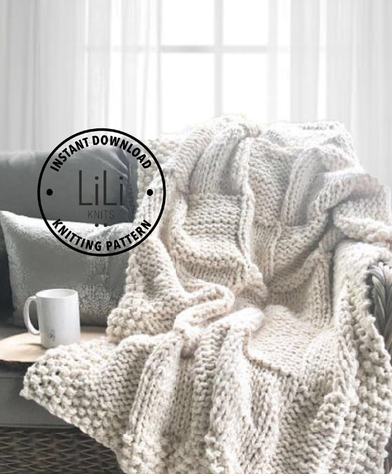 Knitting Pattern | LiLiKnits Chunky Knit Basketweave Blanket Throw ...