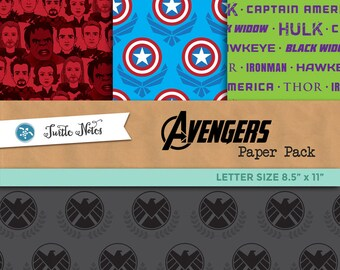 Avengers Letter Sized Paper Pack : 24 Printable Digital Scrapbook Papers