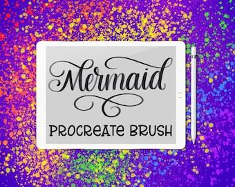 Mermaid lettering brush for Procreate