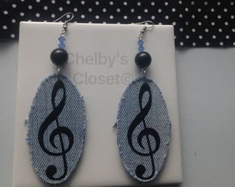 Denim treble clef earrings