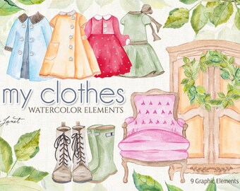 My Clothes - Watercolor Elements - PNG file