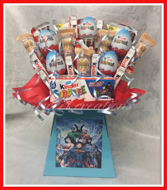 extra large justice league kinder chocolate bouquet