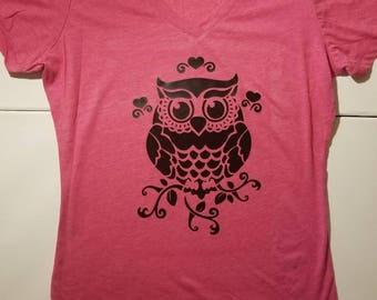 Owl Hearts Poly/Cotton V-Neck T-Shirt