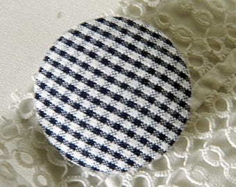 Navy Blue gingham fabric button, 32 mm / 1.25 in