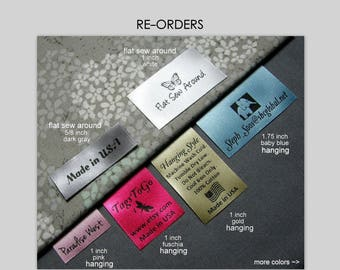 60 HANGING or Flat Sew Around Custom Satin Garment Labels for Returning Customers Only ~ TagsToGo