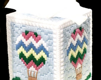 HOT AIR BALLOON - Beautiful Boutique Size Tissue Box Cover - Needlepoint on Plastic Canvas - Handmade - Hand Stitched