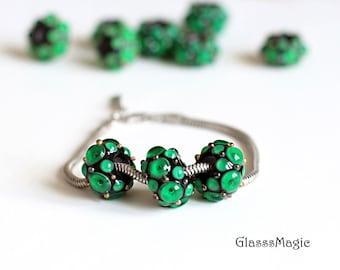 Green Gemstones Big Hole Beads, glass beads, murano glass, lampwork, large hole bead, handmade beads, european beads, black and green, glass