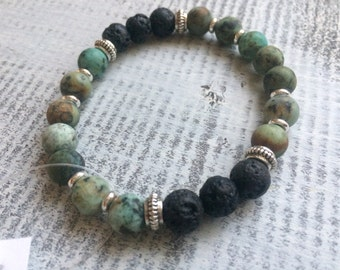 African turquoise and lava stone diffuser bracelet