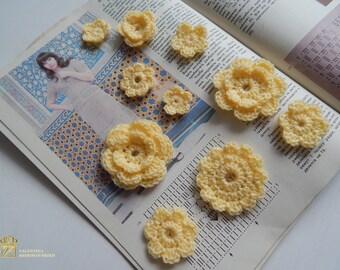 Crochet flower, Set 10 pcs, Applique flower, Sewing or craft, crochet applique, Scrapbooking flower, Decorate flower.