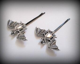 silver Bat bobby pin,antique silver vampire bat bobby pin, gothic bobby pin 1 pair