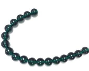 Czech druk 12mm round strand emerald green Glass Beads