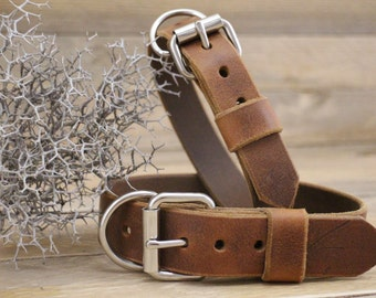 Leather dog collar, FREE ID TAG, Leather collar, Dog gift, Personalised gift, Handmade leather collar, Cowboy brown collar