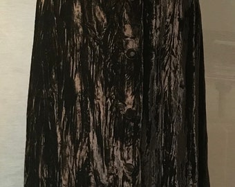 80's Dark Chocolate Crushed Velvet Maxi Skirt in MINT condition!