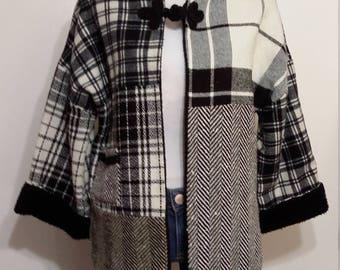 Kimono jacket, M, L, patchwork jacket, faux fur jacket, plaid jacket, plaid poncho, wool poncho, wool jacket