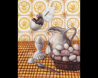 The Witch Sailed Away in the Eggshell, Art Print, Kitchen Witch, Still Life with Eggs, Yellow Kitchen, Fairy Tale, Egg Cup, Folk Tale, Salt