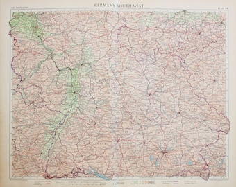 Vintage Map of South West Germany, 1950s Cold War Era. Lovely Pastel Colours (64)