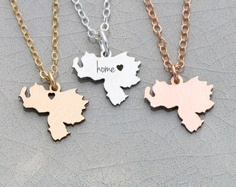 Venezuela Necklace • South America Charm Venezuela Jewelry Engraved Coordinates Personalized Gifts Mission Trip Present Her Gift