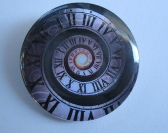"""Doctor Who Opening Sequence Time Spiral (plain) - 1.25"""" or 1.5"""" - Button - Magnet - Keychain - The Doctor"""