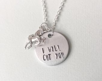 Unicorn necklace, unicorn gift ideas, i will cut you, unicorn gift her, unicorn gifts, unicorn horn, gift for her, unique unicorn gifts