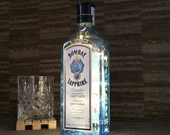 Bombay Sapphire Gin Bottle Lamp With Warm White Copper Wire Fairy Lights Upcycled