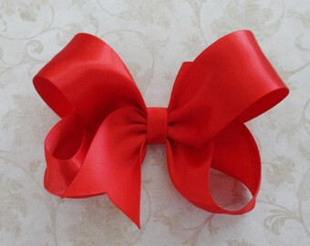 Red Satin Twisted Boutique Bow - 4 inch Red Satin Hairbow  - Summer Red Bow - Baby HairBow - Girls Satin HairBow