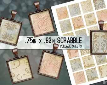 Vintage Paper Collage Sheet Digital Scrabble Tile Images .75x.83 on 4x6 and 8.5x11 Download Sheets for Glass or Resin Pendants E0017
