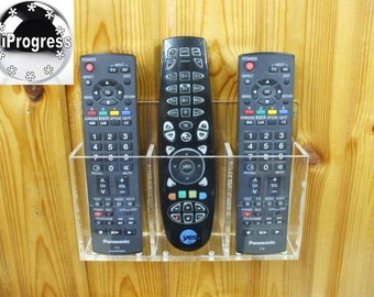 Triple Wall Holder Stand Display for Three TV Cable or Satellite Decoder Receiver Remote Controls
