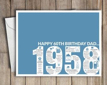 60th birthday card etsy 60th birthday card dad 1958 60th birthday dad bookmarktalkfo Image collections